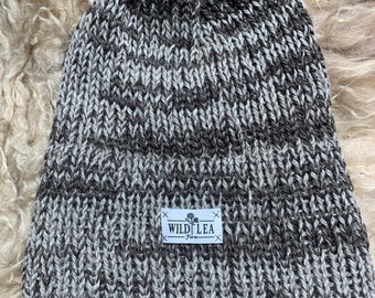 Handmade bicolored knit wool hat