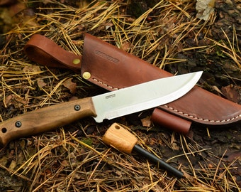 BPS Knives Adventurer - Hunting Full Tang Knife with Leather Sheath & Fire Starter Bushcraft Camp Outdoor Survival Bush Carbon Steel Knife