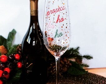 Women's Christmas Xmas Prosecco HO HO HO Funny champagne wine Print TS1031