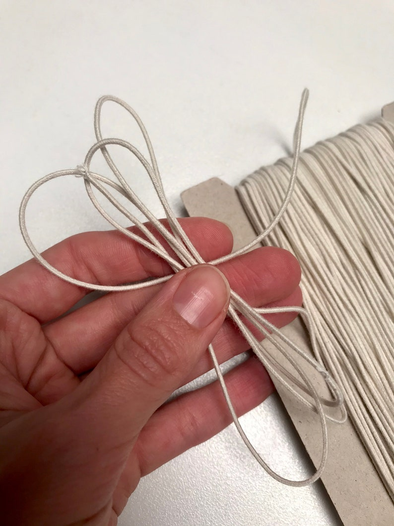 1.1mm Natural Rubber Organic Cotton Round Biodegradable Elastic for ClothingAccessories