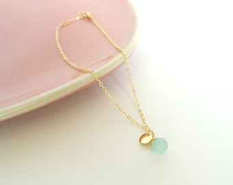 Ibiza Ankle Strap//gold ankle strap//Mint gemstone briolette//chalcedony pendant//personal charm//initials TAG/summer