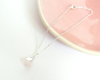 Rose Quartz ankle strap//Silver plated ankle strap//Rose quartz charm//Give love//delicate ankle strap silver//boho ankle strap