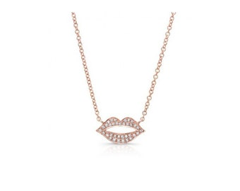 14KT White Gold Diamond Kiss Necklace