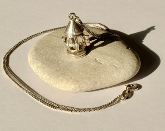 Light Up Your Path!! Unique, Vintage Sterling Silver, Opening Fairytale Lantern Necklace, Miners Lamp, Charm, Pendant Locket.