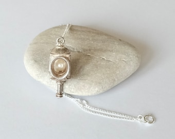 You Are The Light Of My Life... A Lovely Vintage Sterling Silver Victorian Pearl Lantern Necklace. Lamp Pendant.