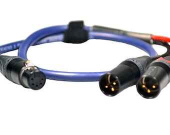 Pro Y Splitter Lead 3pin XLR Female to 2x 3pin XLR Male Balanced Van Damme Cable