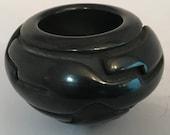 Black Pottery Bowl, Santa Clara Pueblo with Carved Design