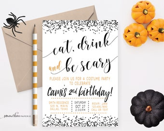 halloween birthday invitation costume party invites witch etsy