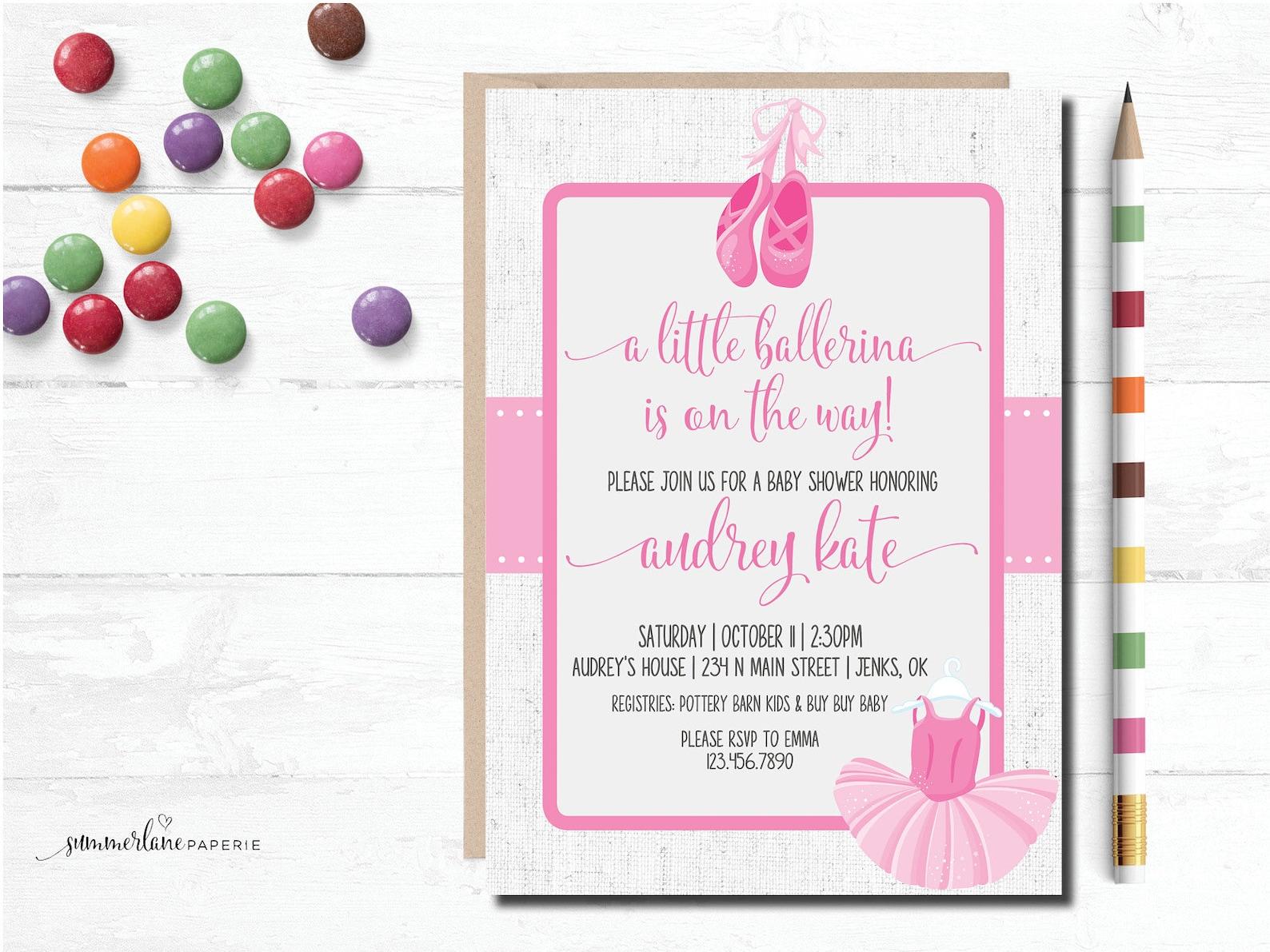 little ballerina baby shower invitations | pink tutu and ballet shoes girl baby shower | classy light pink ballet shower printab