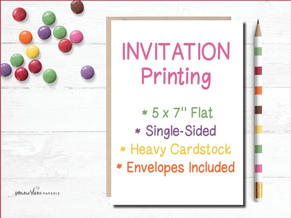 invitation printing service for 5x7 flat invitations etsy