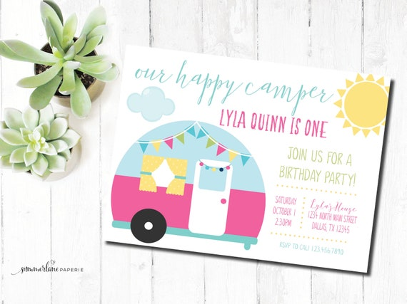 One Happy Camper First Birthday Party Invitation Girls