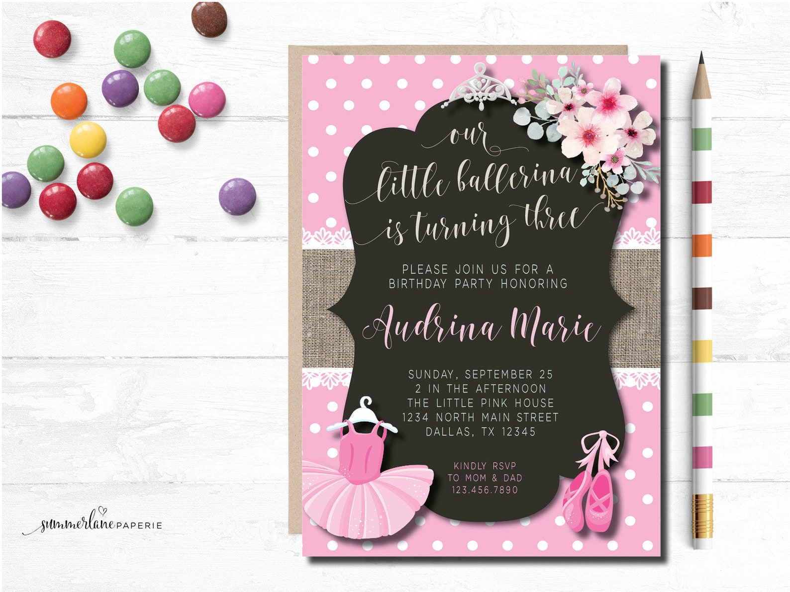 ballerina birthday invitation | ballet shoes and tutu ballet party invite | any age pink floral girls printable invites