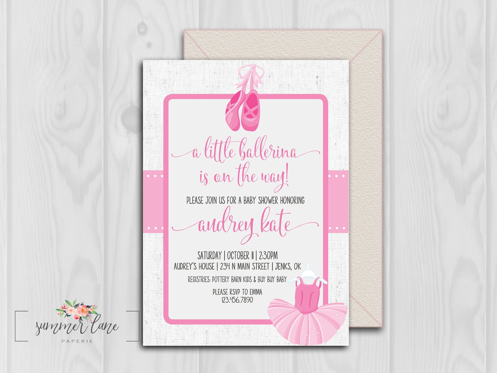 little ballerina baby shower invitations | pink tutu and ballet shoes girl baby shower | classy light pink ballet shower printab