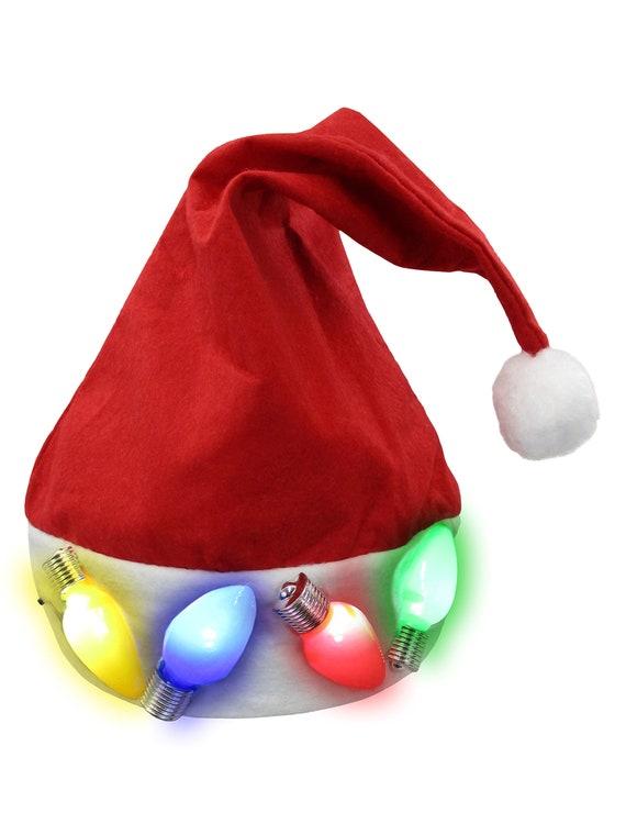 Elf Light-Up Hat Santas Helper Jester Red Green Xmas LED Costume Accessory