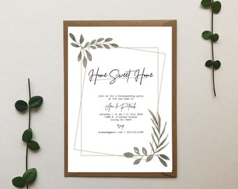 simple greenery garden housewarming invitation 5 x 7 inches pdf jpg home sweet home
