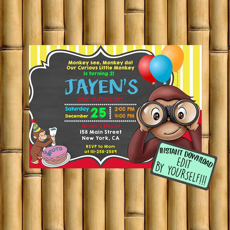 Curious George Invitation Birthday