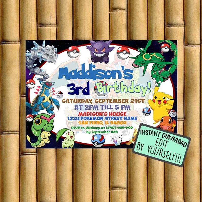 Pokemon Card Invitation Inivtation Instant