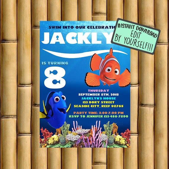 Finding Dory Invitation Finding Dory Birthday Finding Dory Etsy