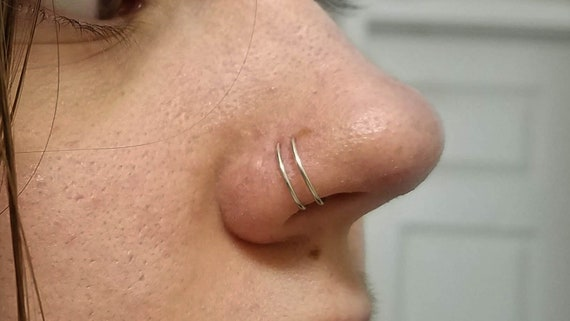 Fake Double Nose Ring Silver Or Gold No Piercing Needed Etsy