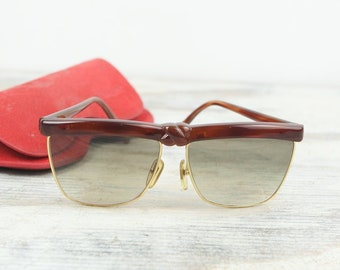 378ed54b633 Vintage Laura Biagiotti Sunglasses 1980s Large lenses with knotted flat top  gold wire rims Womens Designer Sunglasses Made in Italy