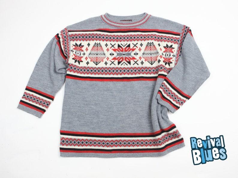 45727ab3987 80 s Icelandic Nordic Knit Sweater Crew neck pullover
