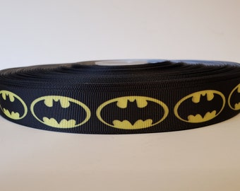 "1 2 3 METRE METRES GIRLS PINK POLKA DOT BATMAN BAT 22MM 7//8/"" GROSGRAIN RIBBON"