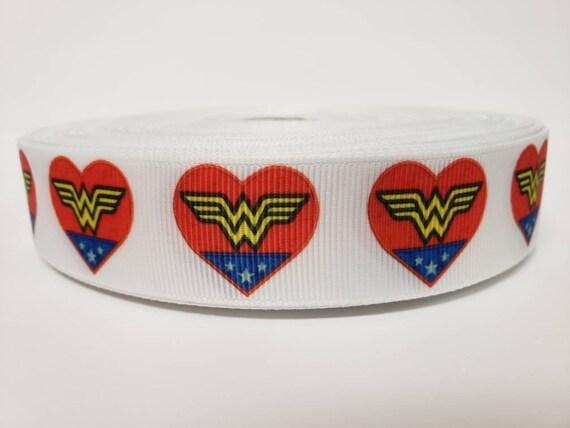 "Grosgrain Ribbon 7//8/"" By the yard NEW Red /& White Stars DC Comics Wonder Woman"
