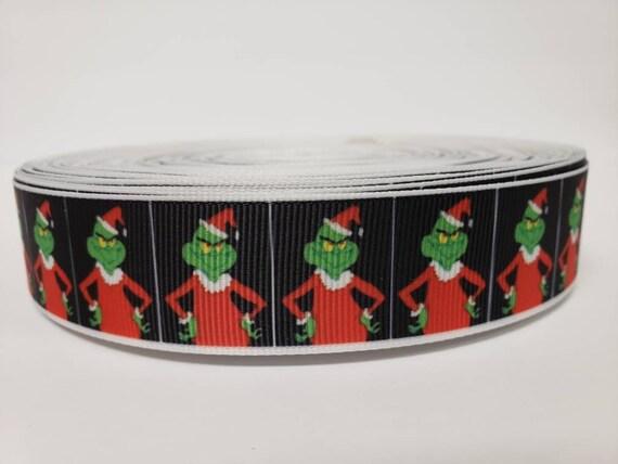 "Black Christmas Printed Grosgrain Ribbon 25mm wide 1 2 5m The Grinch 1/"""