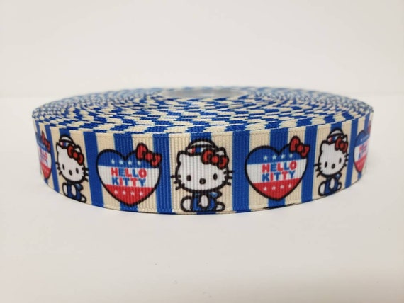 "FREE SHIPPING GROSGRAIN RIBBON 7//8/"" 4th of July Hello Kitty Printed"