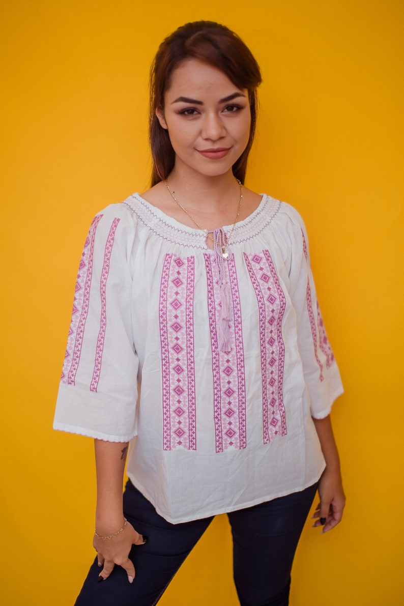 7d88ad3567930f Pink and White Embroidered Shirt Traditional Mexican Blouse