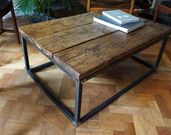 Rustic Industrial Chic Box Frame Coffee Table Made With Reclaimed Wood And  Raw Steel
