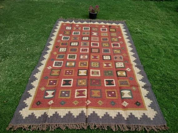 4 x 6 Feet Area Kilim Rug Accent Wool Jute Rug Handmade Dhurrie Traditional Indian Geometric Turkish Rug Home Decor Area Reversible Dari