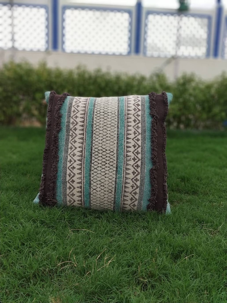 Dhurrie Pillow Cover,Cotton Cushion Cover,Printed Embroidery Shaggy Pillow Case Rustic Pillow,Decorative Couch Pillow,Etsy Cushion Cover
