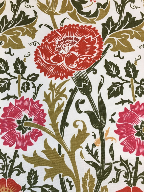 Floral Cotton Print Upholstery Fabric Etsy