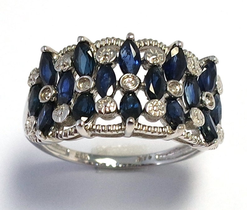 Gorgeous Ring 14ct White Gold Marquise Cut Sapphire /& Round Cut 0.035 cts Diamond Ring Size 7 Evening RIng SYR873 SAP