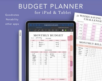 Digital Budget Planner, Finance Planner, iPad Tablet, Hyperlinked Tabs, Digibujo, Bills Expenses Tracker, Money Planner, Goodnotes Planner