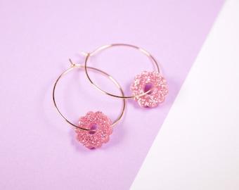 Flowers Earrings Pink Glitter - Flowers - Acrylic