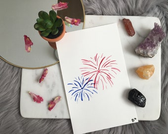 Hand Painted Original Watercolor of Fireworks