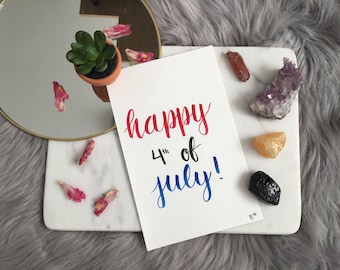 Hand Painted Original Watercolor of 4th of July Decoration