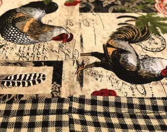 Table Runner Roosters Roses Plaid