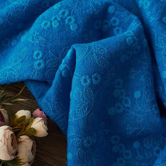 Tissu en lin bleu broderie, tissu lin par coton par lin yard brodé 82a7bf