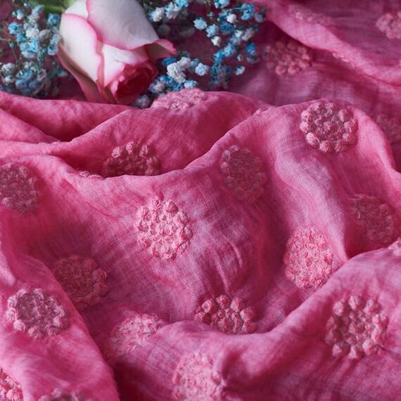 Tissu de ramie de broderie rose, ramie tissu brodé, tissu de ramie broderie par yard f3eaee