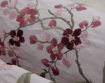 Embroidery embroidered Floral dupion silk doupion silk douppioni silk fabric by the yard