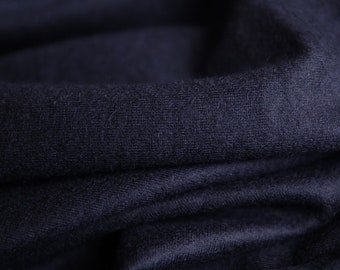 Navy Knit cashmere wool fabric by the yard
