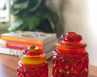 Vintage Red Glass Kitchen Canisters