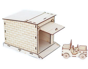 Wooden model puzzle 3d car garage laser cut model Wooden Craft Kit scale model