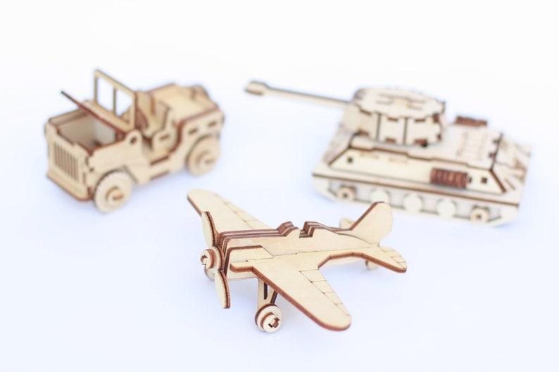 SET of 3 Gift for him Wooden puzzle 3d military tank Boyfriend gift Adult  Craft Kit wooden scale model tank aircraft jeep