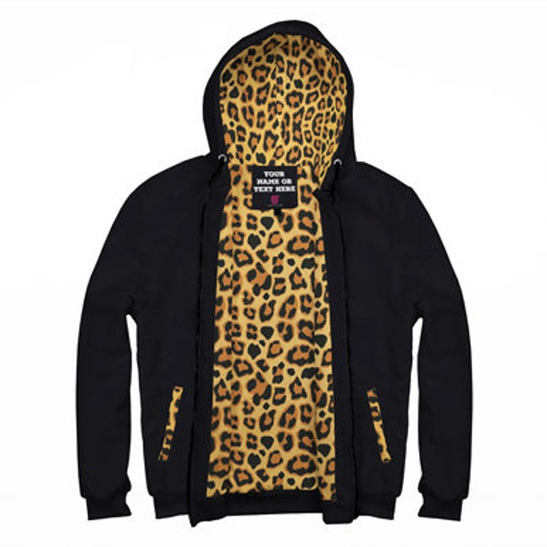 258dc1bf1827 Personalized Black AOP Zip Hoodie with Leopard Inside Print   Etsy