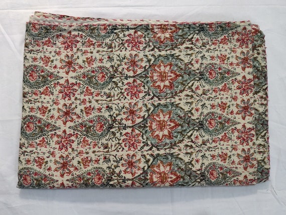 Indian Vintage Handmade Cotton Kantha Quilt Bedcover Throw Cotton Blanket