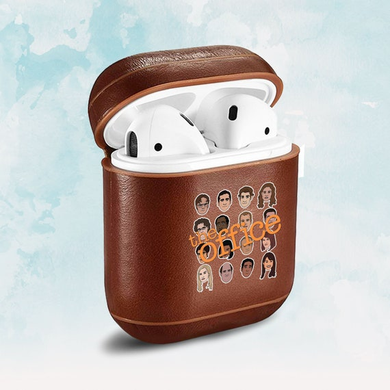 outlet store dff6f c6de3 Inspired by The Office case AirPod case TV show AirPods case Leather AirPod  Monogram keychain Logo Office Case AirPods cover Red AirPod case